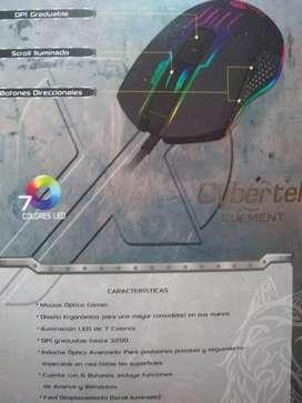 Mouse gamer PC nuevo DPI iluminación LED cybertel