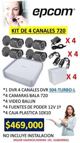 KIT DE 4 CAMARAS BALA 720
