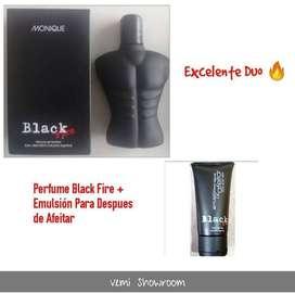 Perfume Masculino Monique Black Fire + Emulsion para despes de afeitar