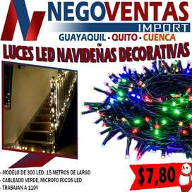 LUCES LINEALES NAVIDEÑAS DE 300 LED DE 15MT DE LARGO VARIEDAD DE COLORES, BLANCO,CALIDO Y MULTICOLOR