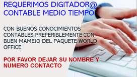 DIGITADOR@ CONTABLE MEDIO TIEMPO