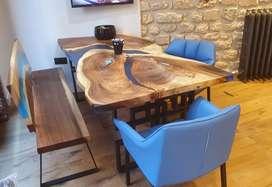 Comedor de resina y madera 6 puestos