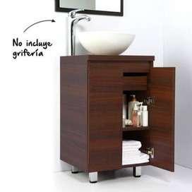 Mueble de baño Bahia Wengue 45 cm con lavamanos Spazio Blanco