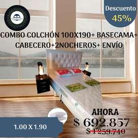 COMBO COLCHÓN 100X190+ BASECAMA+ CABECERO+2NOCHEROS+ ENVÍO