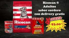 Súper combo Ricocan Adultos RAZAS PEQUEÑAS sabor cordero con DELIVERY GRATIS A TODA LIMA METROPOLITANA Y CALLAO