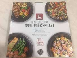 Parrilla, Olla y Sartén marca Chefman 3in1 Electric Indoor Grill Pot Y Skillet