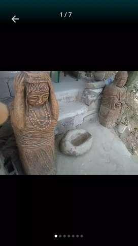 Par esculturas indios kogui para la interperie y piedra ancestral