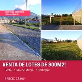 Venta de Lote en 300m2 en  Andrade Marin - Atuntaqui