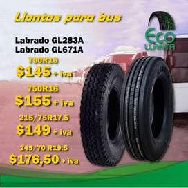 Llantas para bus marca SAMSON  215/75R17.5 16PR - 700R16 14PR 1A MIXTA -  750R16 14PR MIXTA - 245/70R19,5 LISA