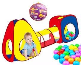 Carpa con tunel niños + 100 pelotas