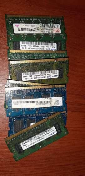 Memorias ddr2 x 1 giga portatil 2x 25000