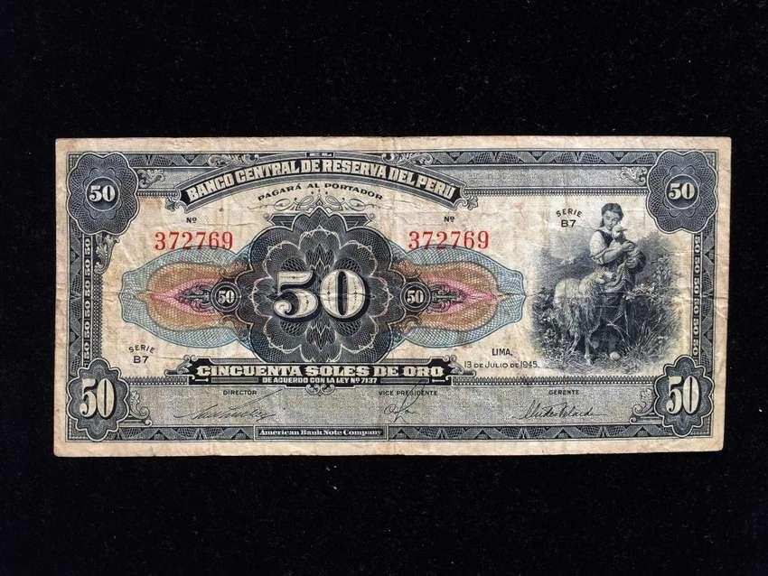 BILLETE DE COLECCION CINCUENTA SOLES 1945 0