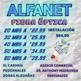 Internet Alfanet, fibra optica, red enlace. El Carmen manabi- pedernales