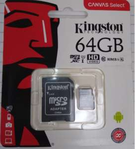 MEMORIA MICRO SD KINGSTON DE 64 GB CLASE 10