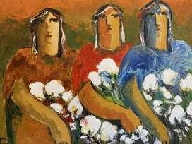 Pintura al oleo - Arcadio Boyer - Las apañadoras de algodón