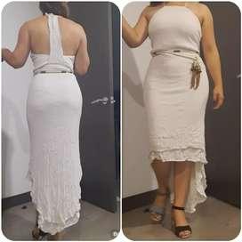 Lindo vestido beige talla 10 Studio F una sola puesta con cinturón