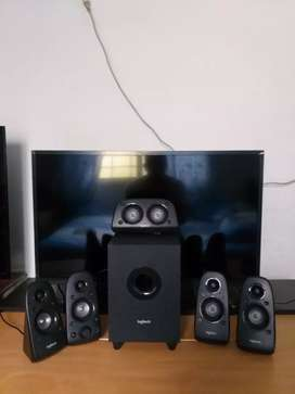 SURROUND SOUND SPEAKER LOGITECH de alta definicion y potencia + monitor y tv LED FULL HD,HDMI 1920×1080,32 pulg