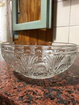 Frutera/ensaladera de vidrio tallado