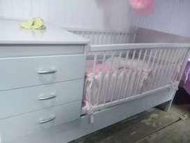 Cuna de bebé - completo (cubrecama, protector de esquinas, colchón paraíso nuevo, edredón)