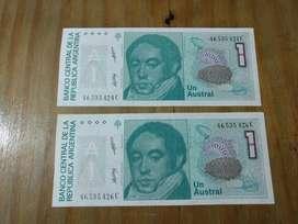 2 Billetes sin Circular de 1 Austral