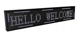 Letrero LED Programable 100x20x5cm 30W, Alto Brillo, Interior, Blanco