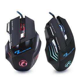 Mouse Gamer. Ratón ergonómico con cable para ordenador, 7 botones, LED, 5500 DPI, USB, silencioso con retroiluminación