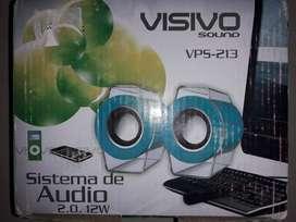 Parlantes Sistema de Audio Sonido Envolvente Mp3  Sistema de Audio 2.0  -  12 W Marca Visivo Sound
