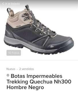 Zapatillas Impermeables Trekking Quechua Cross color azul oscuro