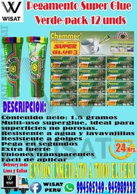Pegamento Super Glue Verde pack 12 Und