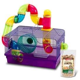 Jaula colorida hamster + alimento