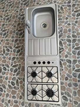 Meson cocina acero inoxidable 150x52cm + 4 puestos a gas