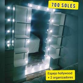 espejo hollywood + 2 organizadores a 700 soles