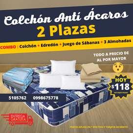 COLCHON ANTI ACAROS 2 PLAZAS + EDREDON SABANAS Y ALMOHADAS POR 118