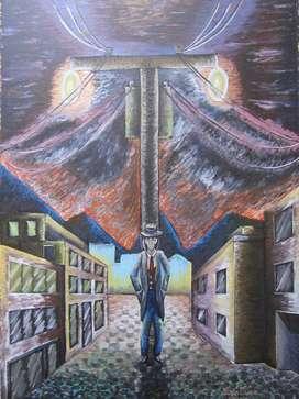 Callejón, 1 Am (pintura Al Oleo Sobre Pergamino)