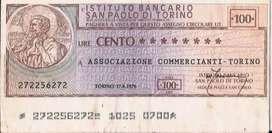 Billete Bono Istituto Bancario San Paolo Di Torino