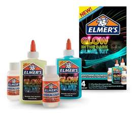 Kit Slime Glow In The Dark Elmer Ilumina En La Oscuridad