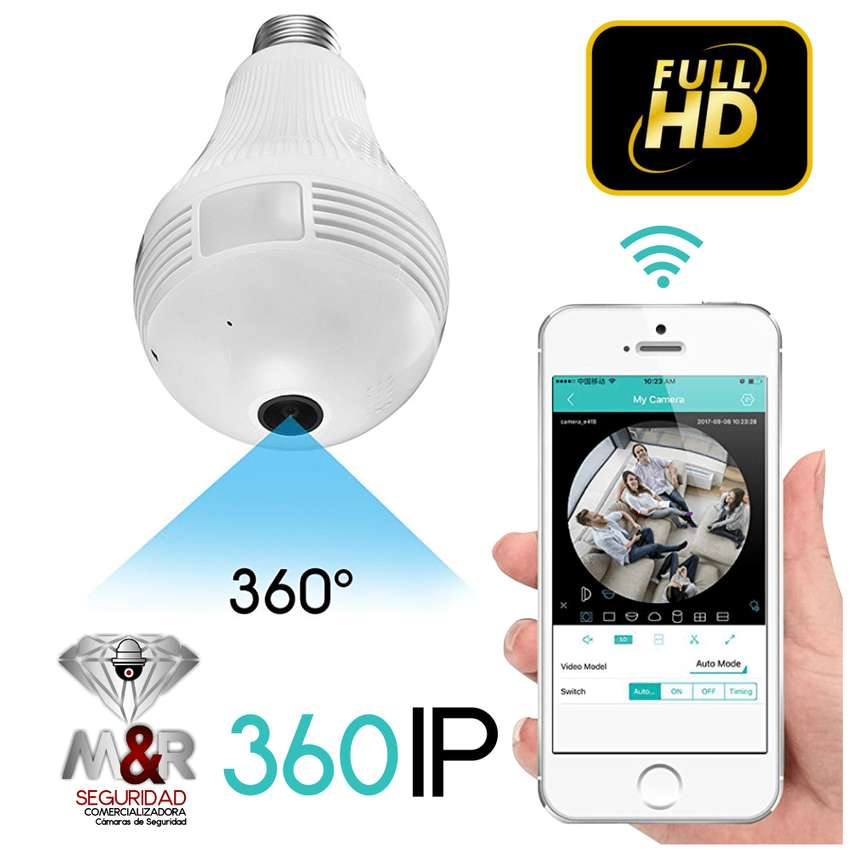 CAMARA BOMBILLO IP WIFI 360 GRADOS HD 0
