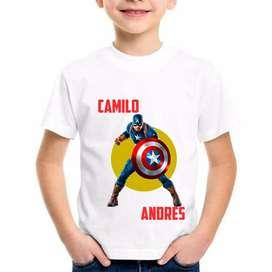 Camisetas Personalizadas Niño Capitan America