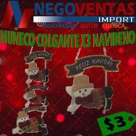 MUÑECO COLGANTE X3 NAVIDEÑO IDEAL PARA TU DECORACION NAVIDEÑA