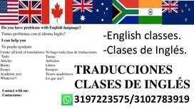 Clases, tutorías de Inglés y traducciones