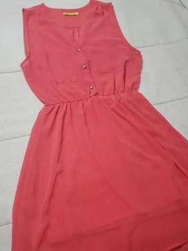 "Vestido ""Kimeika"" gasa color salmón 1 solo uso"