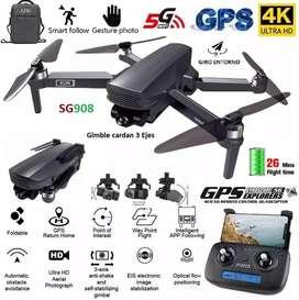 Drone camara 4K SG908 1200m 26min cardan gimble 3 ejes maleta dron nuevo version GPS seguimineto retorno automatico pro