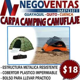 CARPA CAMPING CAMUFLABLE 2X2CMS CAPACIDAD MAX DE 4 PERSONAS EN DESCUENTO EXCLUSIVO DE NEGOVENTAS