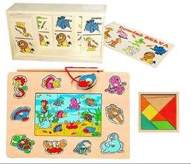 Domino animales Rompecabezas didáctico con juego de pesca y tangram Madera