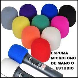 Espuma grande para microfonos de mano o de estudio x 2 piezas