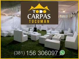 CARPAS Y LIVING EVENTOS ALQUILER Mobiliario, Puff Sillones, Barras