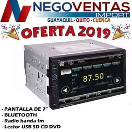 RADIO PANTALLA DOBLE DIN CD DVD BLUETOOTH USB SD AUX FM PARA CARROS