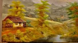 Vendo o cambio pintura cuadro paisaje campesino, por mecedora mompoxina