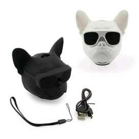 Parlante con diseño de cabeza perro bulldog