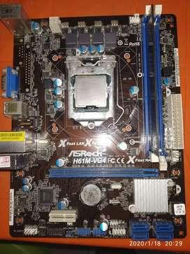 Combo board h61M + procesador + RAM para repuesto